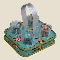 Tin Lithographed Children's Lemonade Carrying Set