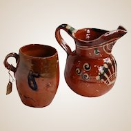Tiny Mexican Vintage Cup and Pitcher Handmade and Painted