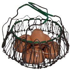 Vintage Wire Ware Expandable Egg Basket w/ Green Accents