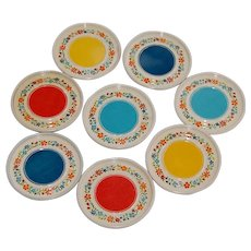 Cute Set of 8 Tin Lithograph Drink Coasters