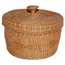Native American or Inuit Covered Basket with Great Woven Handle