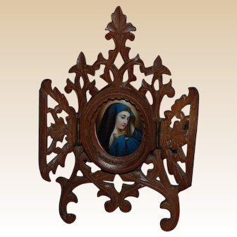 Black Forest Frame with Religious Devotional Virgin Mary Painting