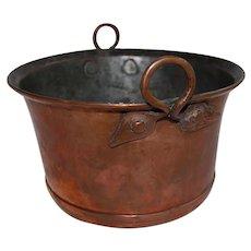 Antique Copper Pot with Leaf Handles