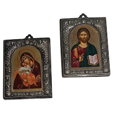 Two Russian Icons The Virgin Mary and Jesus
