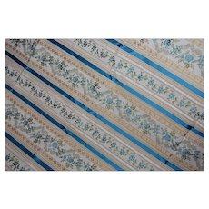 Vintage Ribbon Jacquard  Fabric 1+ yards Blue Green