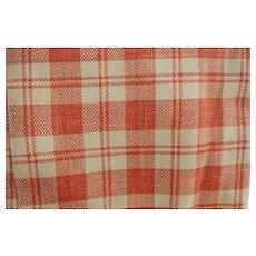Signed Antique Homespun Wool Blanket Bittersweet Orange and Cream