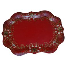 Chippendale Style Red Toleware Painted Tray