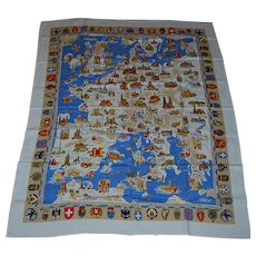 Souvenir Tablecloth of Europe with Coat of Arms