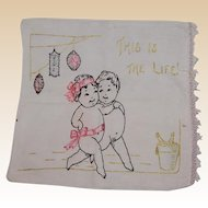 """This is the Life"" 1920's New Year's Babies Embroidered Pillow Cover"