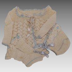 Infant 3 Piece Knit Perambulator Sweater Set