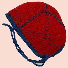 Vintage 1950's  Hand Knit Toddler Helmet Hat