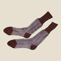 Retro Mid Century Clinton Label Socks Cotton Rayon