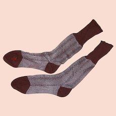 Retro Mid Century Clinton Label Socks Cotton Rayon