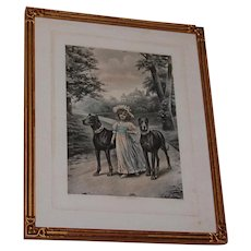 """Well Guarded"" Girl with Dogs Vintage Print"