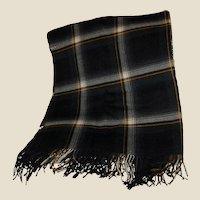 Vintage Polish Plaid Wool Lap Blanket