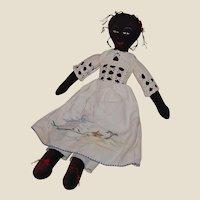 Vintage Sweet Black Cloth Doll Signed