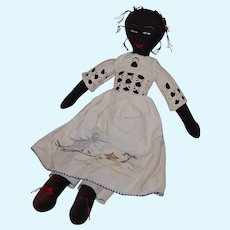 Vintage Sweet Black Cloth Doll Signed