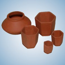 Set of 5 Miniature Terracotta Dollhouse Flower Pots