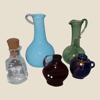 Set of Miniature Blown Glass Dollhouse Bottles