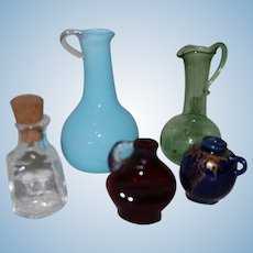 Set of Miniature Blown Glass Dollhouse Bottles