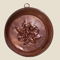 Vintage Copper Jelly Mold with Sweet Rose