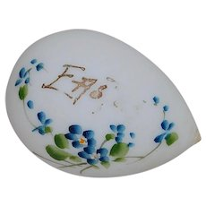 Milk Glass Easter Egg with Painted Forget-Me-Nots