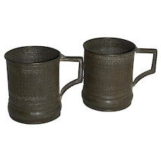 Antique Fancy Embossed Tin Cups
