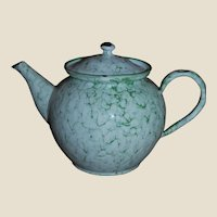 Elite of Austria Graniteware Tubby Teapot Green White Swirl