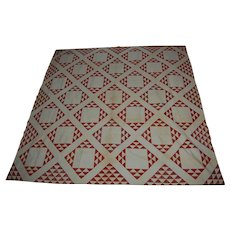 Red and White Flying Geese Diamond Quilt