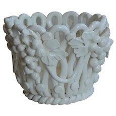 White Italian Basket Flower Pot Grape Motif