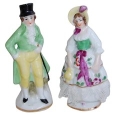 Gentleman and Lady Figurines with Porcelain Lace and Anchor Mark