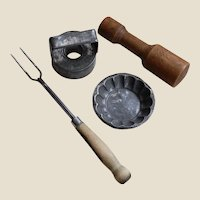 4 Vintage Kitchenware: Fork, Pastry Mold and Cutter, Wood Mallet