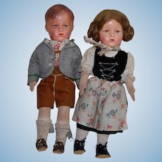 Vintage Bavarian Doll Boy and Girl 12.5""