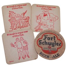 4 Utica Club and Fort Schuyler Beer Coasters