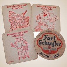4 Utica Club and Fort Schuyler Beer Coasters