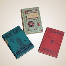 3 Antique Embossed Books Bryant's Poems, Hood's Poems, Lucille