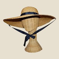 Wide Brimmed Straw Hat Women's 19th c Rural Style