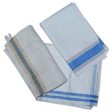 3 Vintage Blue Striped Linen Towels