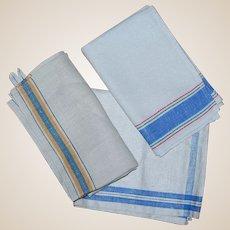 3 Vintage Blue Striped Linen Towels