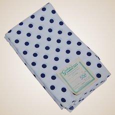 4 Yards Vintage Crepe Fabric Navy Polka Dots
