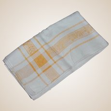 Vintage Damask Tablecloth with Golden Yellow Stripes