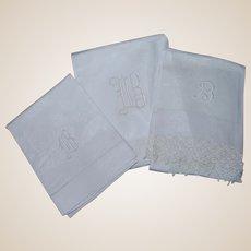 Three Letter B Monogrammed Damask Linen Towels