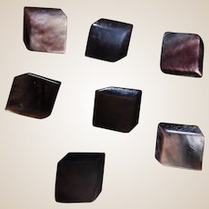7 Geometric Dark Mother of Pearl Buttons