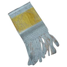 Beautiful Yellow and White Damask Linen Towel with Fringe