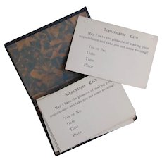 Vintage 'Acquaintance' Early Calling Cards with Faux Leather Case