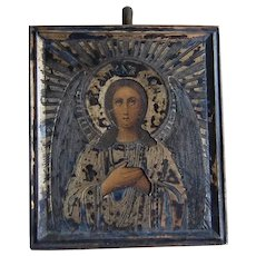 Old Russian silver and painted Virgin Mary Miniature Icon