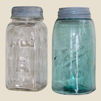 2 Vintage Atlas Jars with Metal and Glass Lids