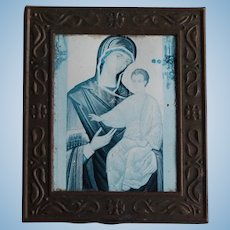 Decorative Metal Dollhouse Framed Religious Madonna with Child