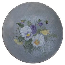 Pretty Pansies Painted Paper Mache Decorative Plate