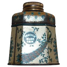 Signet Peacock Blue Ink Tin and Glass for Fountain Pens Gloucester, Massachusetts